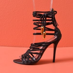 GIUSEPPE ZANOTTI Mortisia Black Leather Sandals